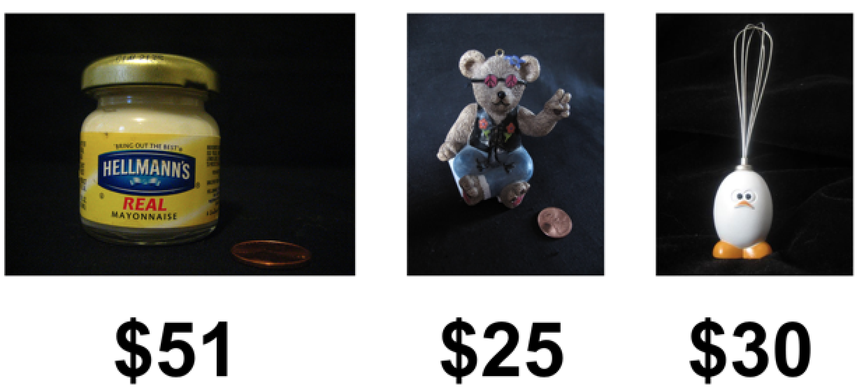 An image of a jar of mayo that is $51, a teddy bear that is $25, and an egg whisk that is $30.