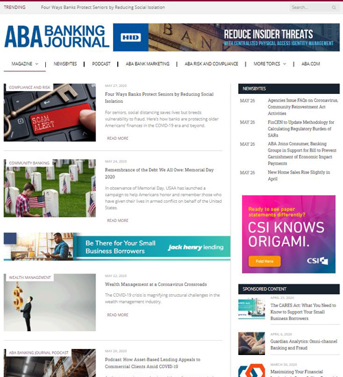 ABA Banking Journal microsite