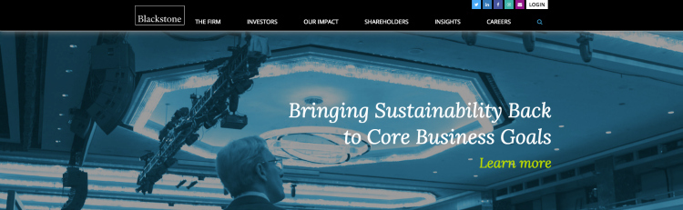 """Hero message on a website that says """"Bringing Sustainability Back to Core Business Goals"""""""