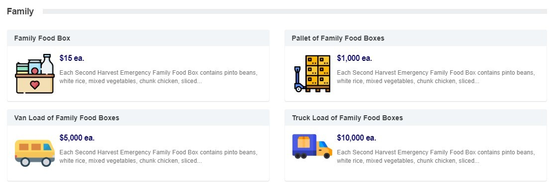 food box selections page