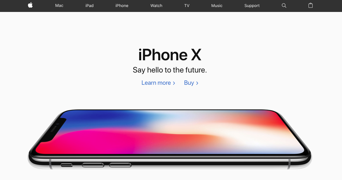 """Apple homepage that shows the iPhone X and has a hero message that says """"iPhone X: Say hello to the future"""""""