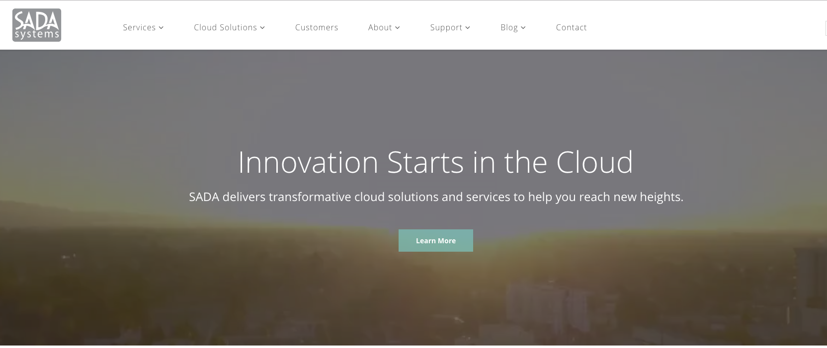 """SADA Systems homepage with a hero message that says """"Innovation Starts in the Cloud: SADA delivers transformative cloud solutions and services to help you reach new heights."""""""