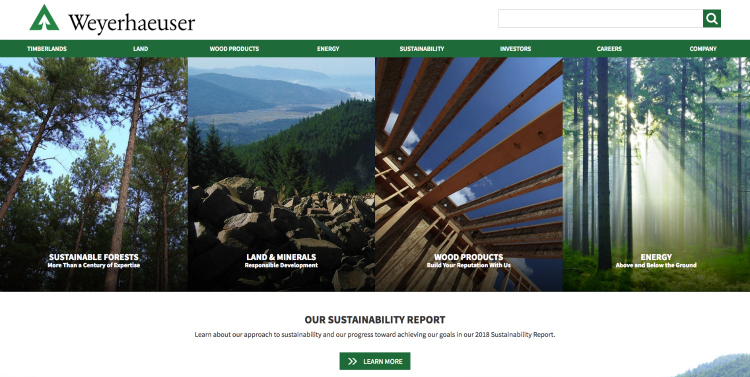 Weyerhaeuser homepage screenshot with images of forests and lumber