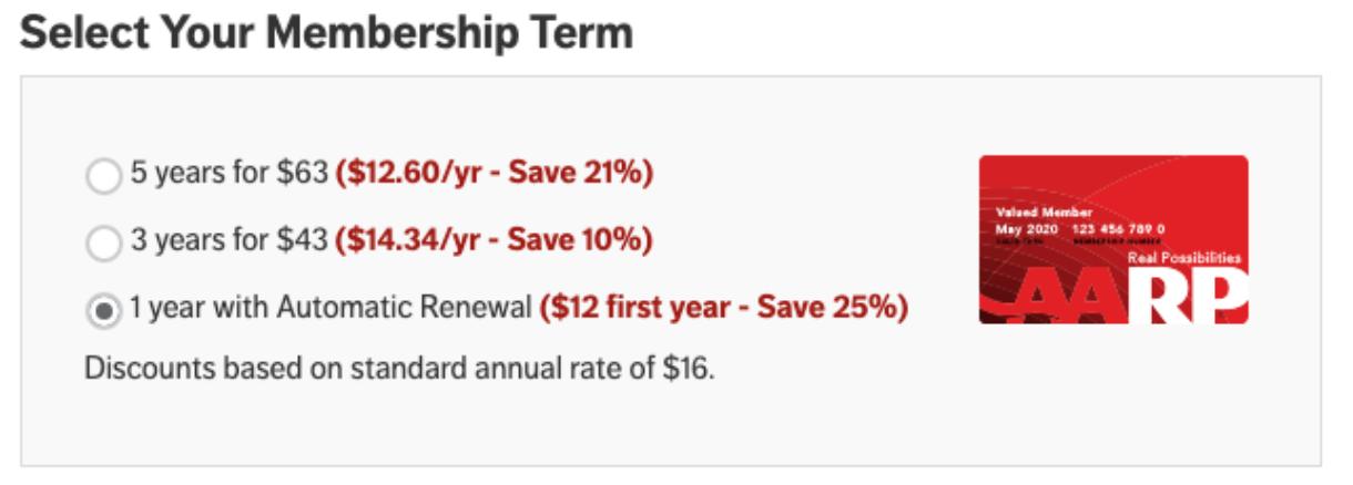 AARP membership form with three membership options
