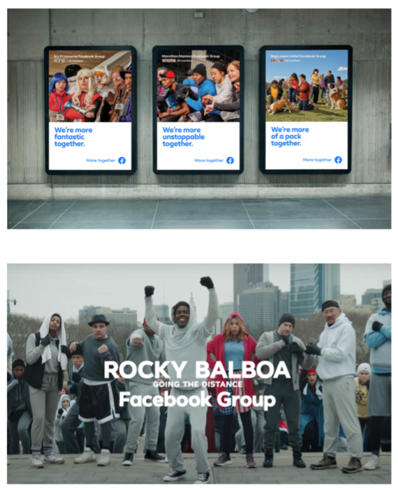 Screenshots from a Facebook commercial featuring their slogan