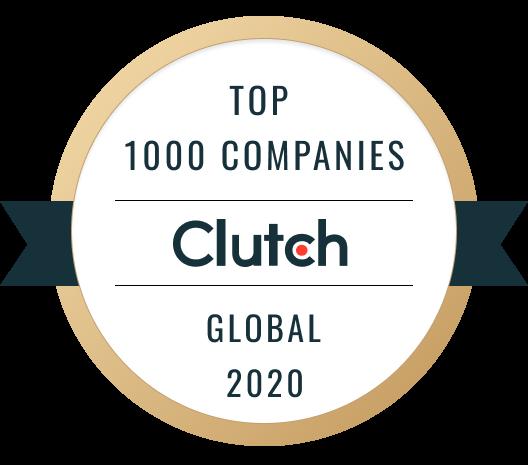 "Clutch Award reading ""Top 1000 Companies Global 2020"""