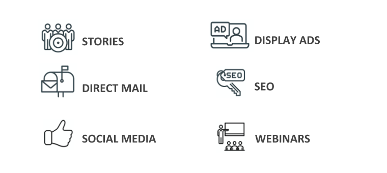 Stories, Direct Mail, Social Media, Display Ads, SEO, Webinars