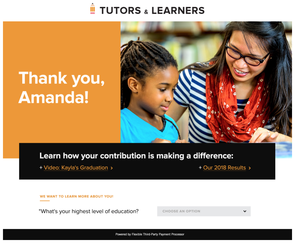 Tutors & Learners thank you page with option to play a video showing your impact