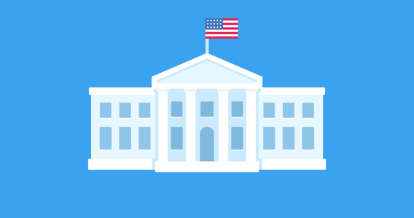 illustrated white house building