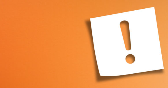 an exclamation mark on an orange background
