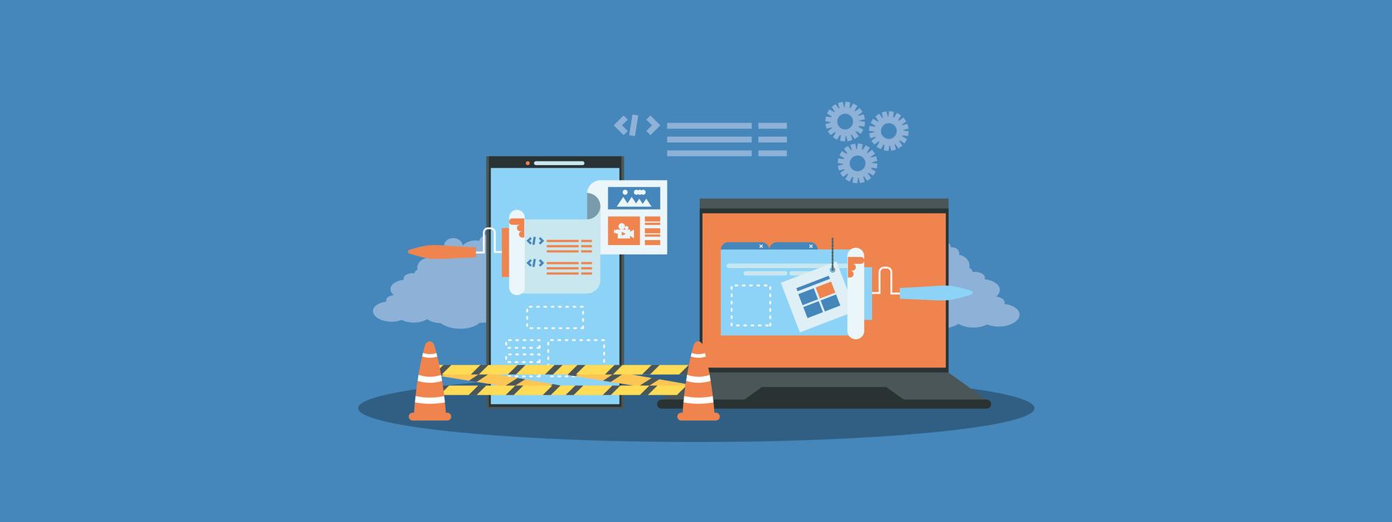 illustrated website under construction in mobile and desktop formate